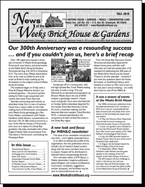 Weeks Brick House Newsletter